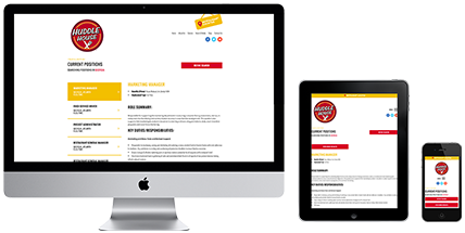 The Huddle House Careers secondary page website design on desktop, tablet, and mobile.