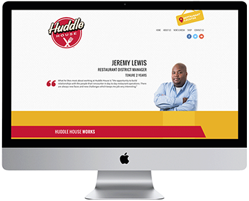 Computer with the new Huddle House Careers website on the screen.