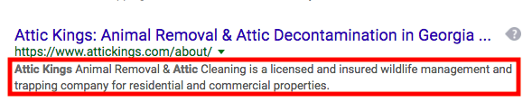 title and meta description from search results