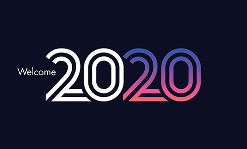 a banner welcoming the year 2020